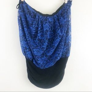 Janette Plus strapless Blue Lace Ruched side 1XL